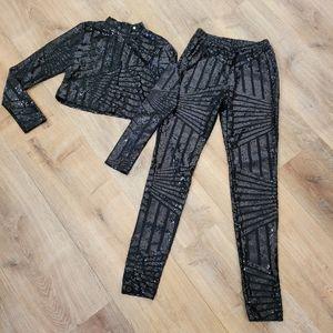 Sequins pants crop top set Small